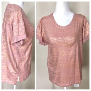 Tops - Shimmery Rose Gold Boxy T-SHIRT TEE Top